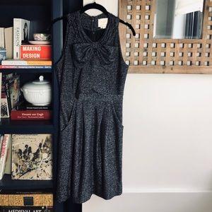 KATE SPADE Sparkle Metallic Wool Bow Party Dress 0